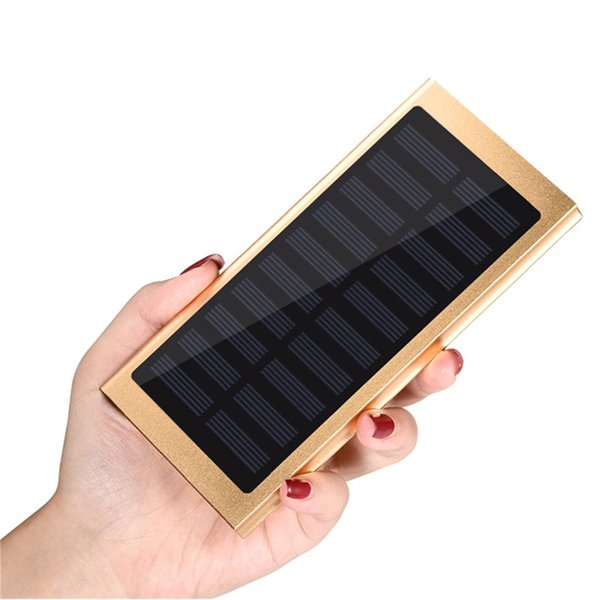 Solar Ultra Thin Slim Polymer Metal Power Bank 20000mah Dual Usb Port Emergency Mobile Charger Universal for Iphone Samsung with Retail Box