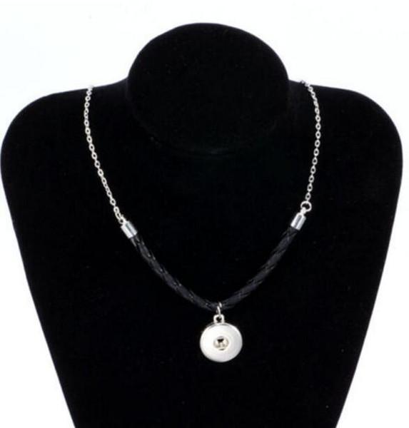 In pelle misto vintage argento 18mm pulsante Snap collane ciondolo dichiarazione choker designer collana donne gioielli fai da te amicizia regalo