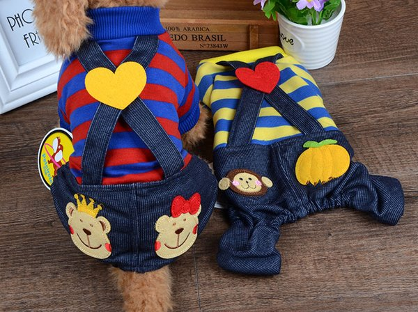 New Brand Spring Summer Pet Dog Stripe Jumpsuit Four Legs Cloth for Small Medium Dog 2 Colors