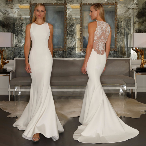 Ivory Simple Satin Mermaid Wedding Dresses Crew Neck Sheer Lace ...