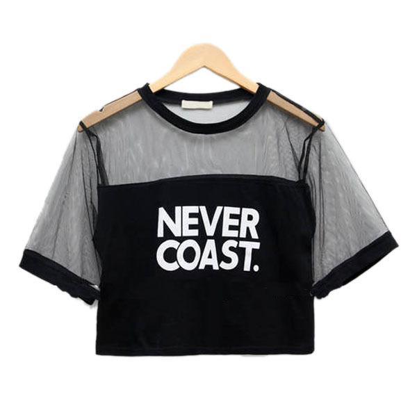 Wholesale- Sexy Women Girls Loose Crop Top T-Shirt Crew Neck See-through Gauze Tops Ladies Tee Shirt
