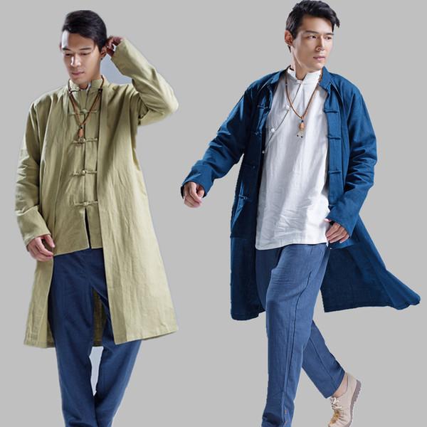 All'ingrosso I nuovi uomini Trench Windbreaker degli uomini 100% Lino lungo cappotto degli uomini di stile cinese del rivestimento solido di colore del cardigan cappotto Q396