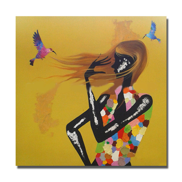 Free shipping nice design black nude sexy young girl 12 beautiful dressing oil painting cheap art paintngs