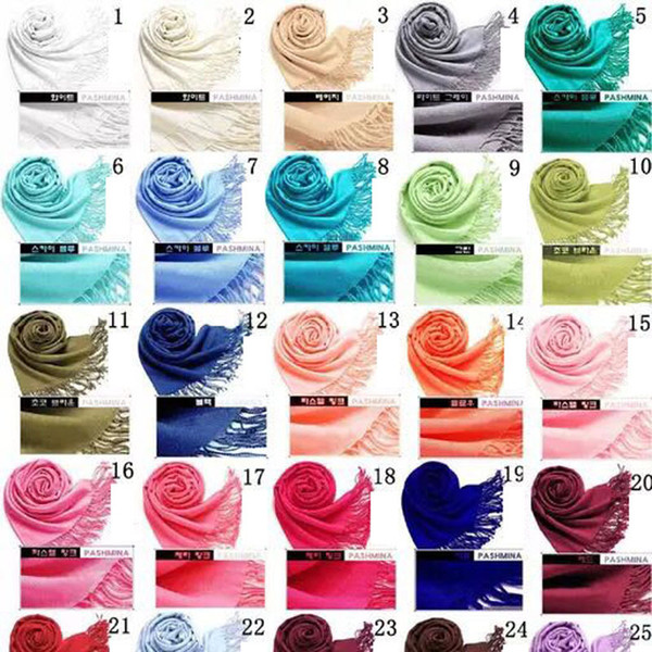best selling 2018 40 Colors Hot Pashmina Cashmere Solid Shawl Wrap Women's Girls Ladies Scarf Soft Fringes Solid Scarf