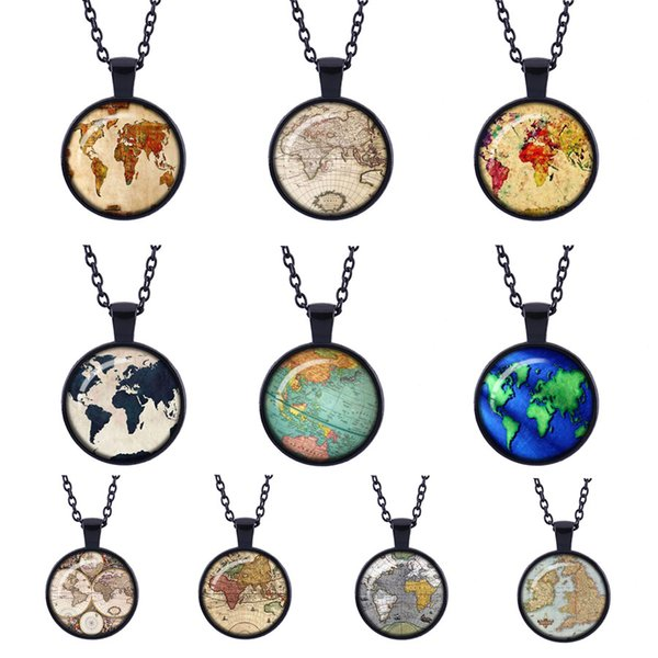 globe map of the world new trendy Retro black necklace pendant jewelry world travel Curved glass adventurer link chain pendants