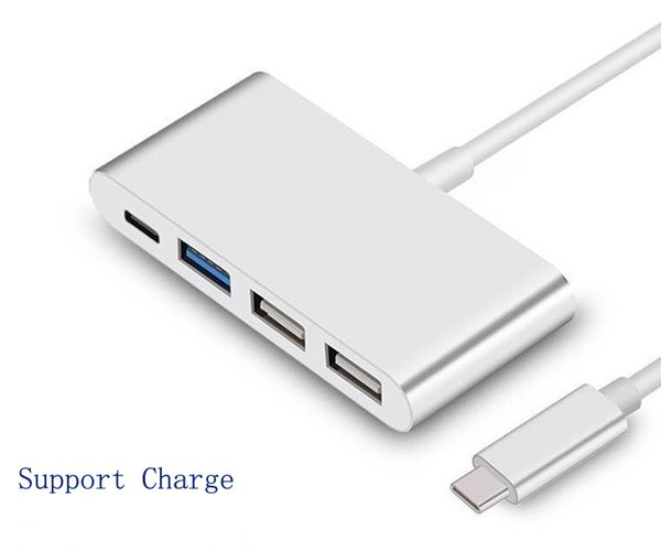 Nouveau chargeur de type C à USB 3.0 Type-C Chargeur HUB 2.0 USB-C Adaptateur de chargeur pour téléphone intelligent pour Apple MacBook 12 pouces