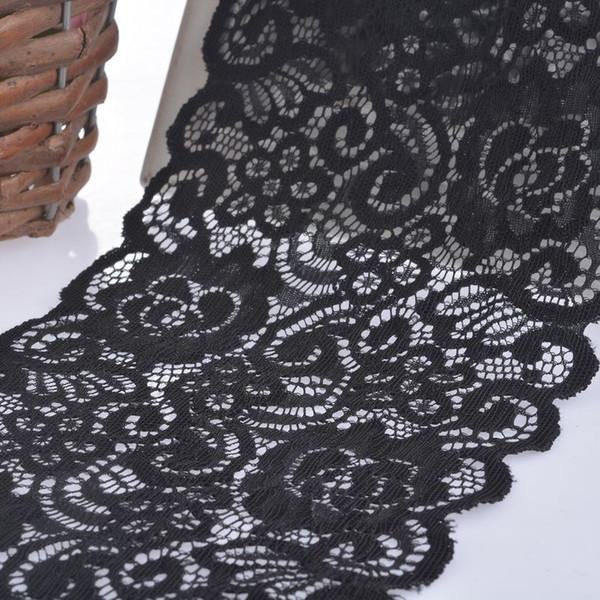 5 Metre Genişliğinde Siyah / Beyaz Elastik Işlemeli Dantel Trim Şerit Kumaş DIY El Sanatları Dikiş Aksesuarları Düğün Saç Giysiler malzemeleri