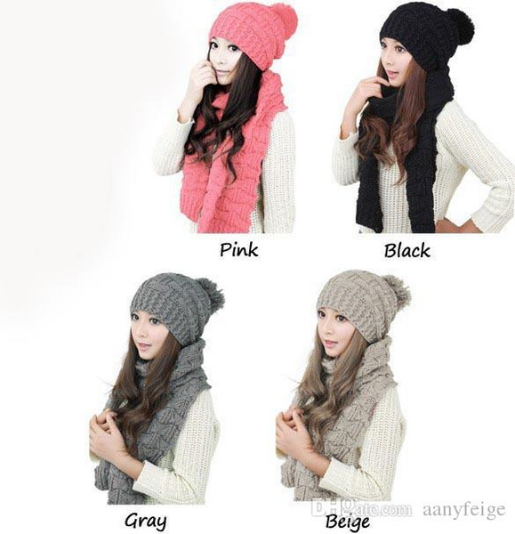 2pcs/set winter hat and scarfs set for women warm suit girls wool hats thicken multicolor ladies scarf,pink gray white black beige