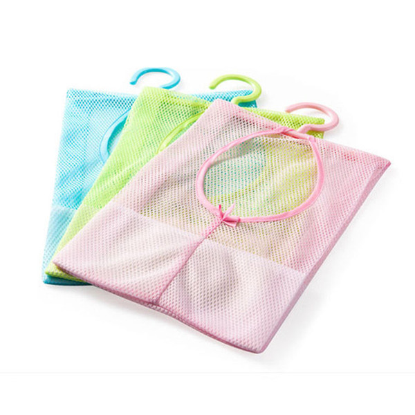 Wholesale- Hanging Mesh Storage Bag Clothes Toy Organizer Laundry Hook Underwear Kitchen Bathroom Indoor Outdoor Dry Practical Pouch