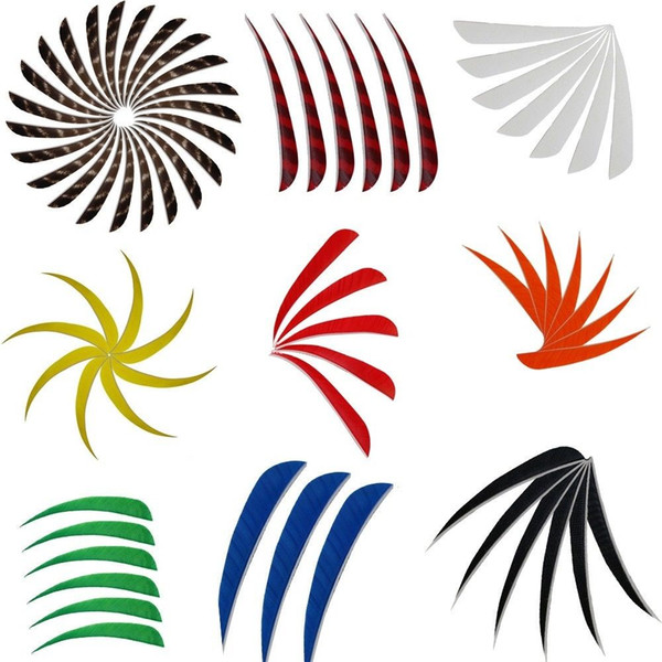 4 Colors 4'' Left Wing Natural Feathers for Glass Fiber Bamboo Wood Archery Arrows Hunting and Shooting Shield