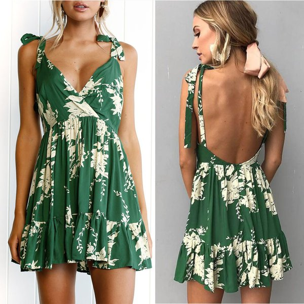 Casual Sexy Backless Bohemian Flora Printed V-Neck Pleated Sleeveless Pullover Short Swing Jumper Dress Pinafore Summer Beach Dresses