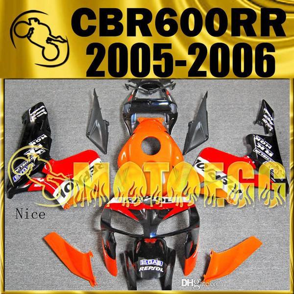 Cinco regalos Motoegg Goodselling Carenados del moldeo por inyección para Honda CBR600RR F5 2005 2006 cbr600rr Carenado Repsol rojo naranja H65M01