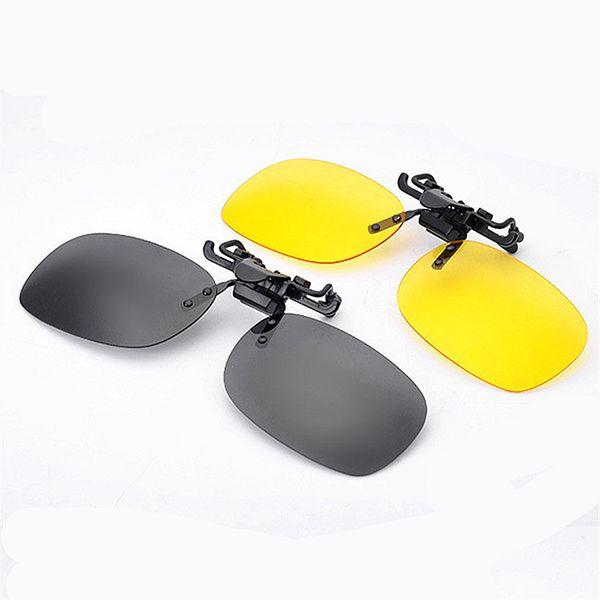 Venta al por mayor-Polarized Clip On Sunglasses Mujeres Hombres Sport Driving Night Vision Lens Gafas de sol Anti-UVA UV400 Hombre Mujer