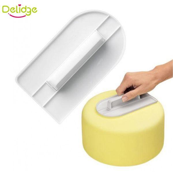 Venta al por mayor-1 piezas de plástico de la torta herramientas de pulido más suave decoración de pasteles más suave Fondant Sugarcraft Cake espátulas DIY herramientas para hornear