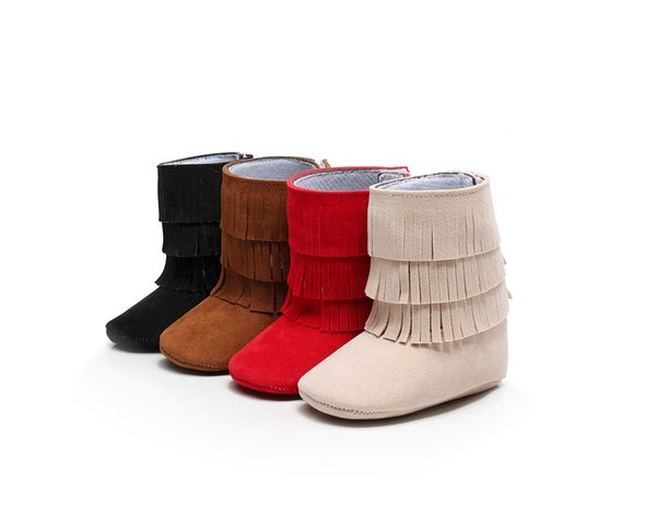 Leather baby shoes moccasins layers tassels Suede ankle boot booties infant girl boy shoes prewalker booties toddlers shoes Fall winter