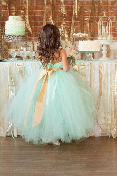 2017 sexy long mint green tulle gold sash flower ball gown halter Flower Girl Dresses girls pageant dresses