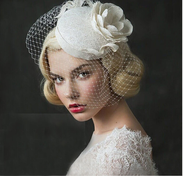 best selling 2019 Exquisite Vintage White Fascinator Sinamany Hats For Wedding Bridal Church ,With Flowers Net Lace,Eoupean Style,Kentucky Derby Hats