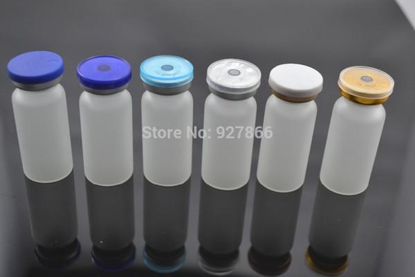 Venta al por mayor - 100 sets 10 ml de frascos de vidrio esmerilado transparente con tapón de silicona, tapas abatibles, botellas de vidrio para cosméticos / inyección con cuello de engaste