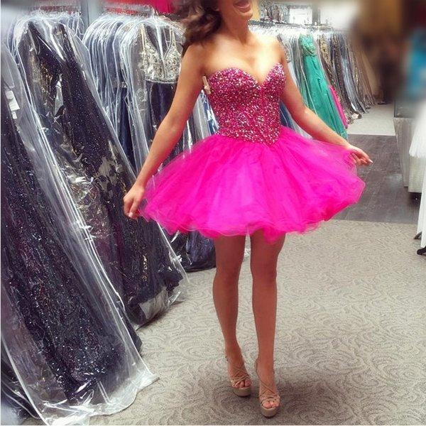 Cheap Short Homecoming Dresses For Juniors 2018 Vintage Fuchsia Organza Ruffle Skirt A Line Prom Party Gowns With Crystals Fast Shipping