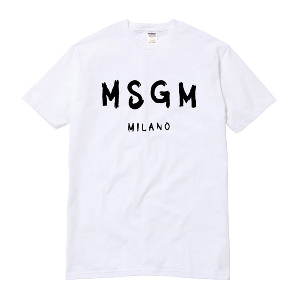 top popular Wholesale-High Quality Men Women MSGM T Shirt Summer Couple Brand Letter Printed Tops Tee Casual Cotton Short Sleeve O-Neck Tshirt 2021