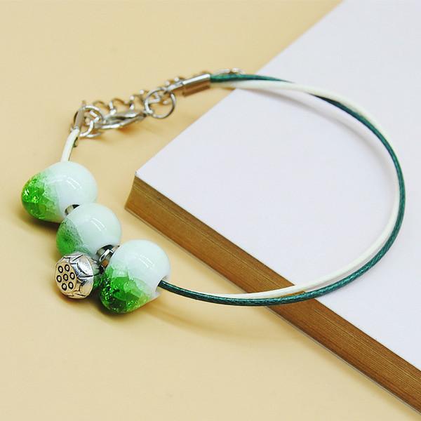 Original New Fashion simple Ceramics bead Girls Bracelet PU Leather Bracelet cute Lover Bracelet Lovers Lucky Jewelry Women Gift