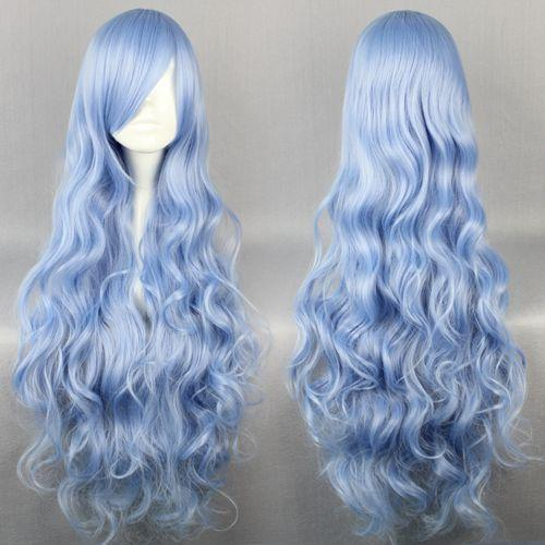 MCOSER Free Shipping Cheap High Quality Date A Live Yoshinon Baby Blue 90cm Long Wavy Synthetic Anime Women Costume Cosplay Wig