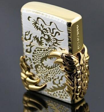 Wholesale! 3 PCS metal cigarette kerosene Lighter Halley treasure ice gold windproof Lighter gold Dragon