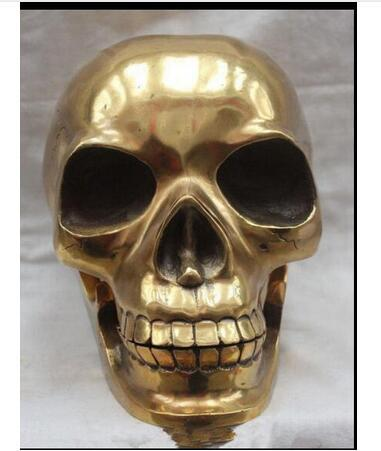 Decoration Copper Brass Crafted Human Skull Skeleton human head Statue Sculpture Sculpture wholesale factory Arts