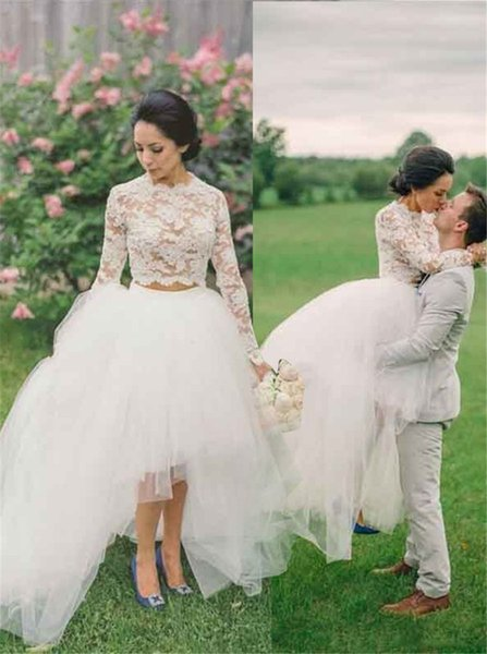 Elegante dos piezas de manga larga Hi-Low vestido de novia de organza Sheer Lace Top vestido de novia vestido de renda