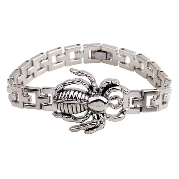 Nuovi gioielli moda uomo acciaio al titanio gocciolare ragno animale 19cm catena bracciali braccialetti per amico ragazzo regalo festivo caldo