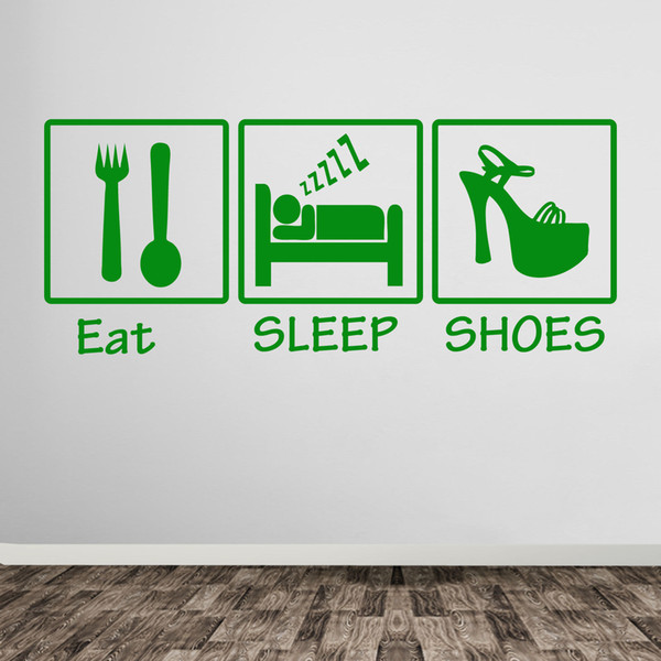 Eat Sleep Shoes Loves Shoes Girls Lady Shoe Wall Art Stickers Decals Hearts A383 DIY