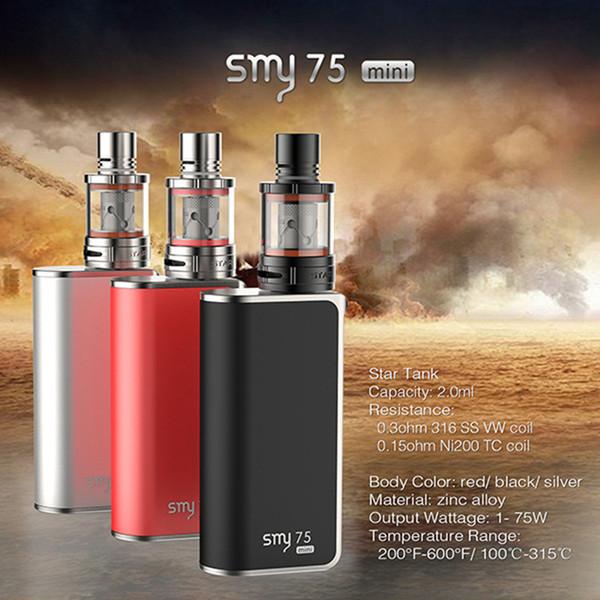 Scatola di controllo della temperatura SMY 75 mini originale mod smy75 starter kit 75w STAR Atomizzatore Topbox sigelei scintilla snowwolf TC e cigs mod vaporizzatore DHL