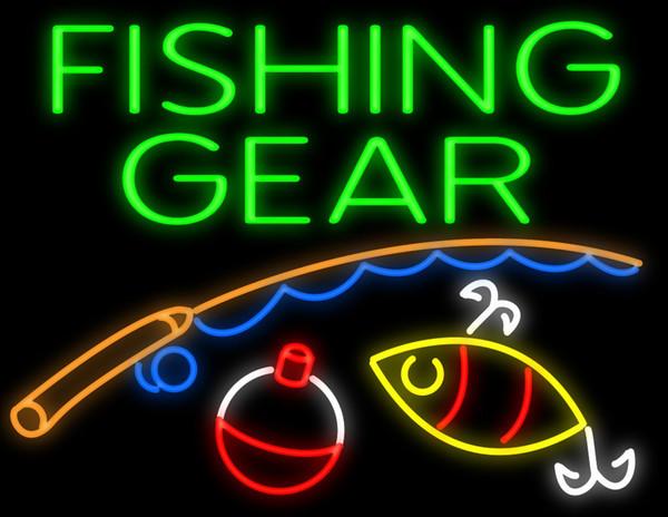 Fishing Gear Rig Rod Hooks Neon Sign Handmade Custom Real Glass Tuble Fishing Tackle Store Shop Club Display Neon Signs 31''X24''