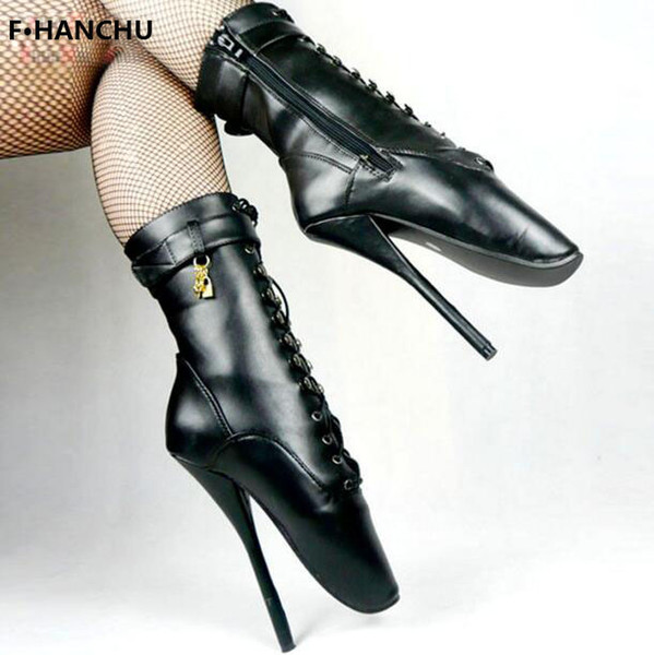 Free Shipping Women/Man Sexy Lock 18cm Spike High Heel BALLET Black lace up Mid-calf Boots Fetish Shoes ballet boot customize plus size