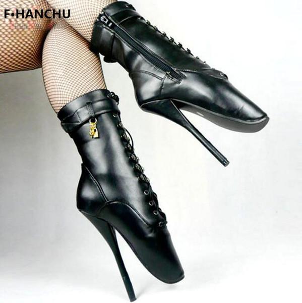 Kostenloser Versand Frauen / Mann Sexy Lock 18 cm Spike High Heel BALLETT Schwarz lace up Mid-Kälber Stiefel Fetisch Schuhe ballett stiefel anpassen plus size