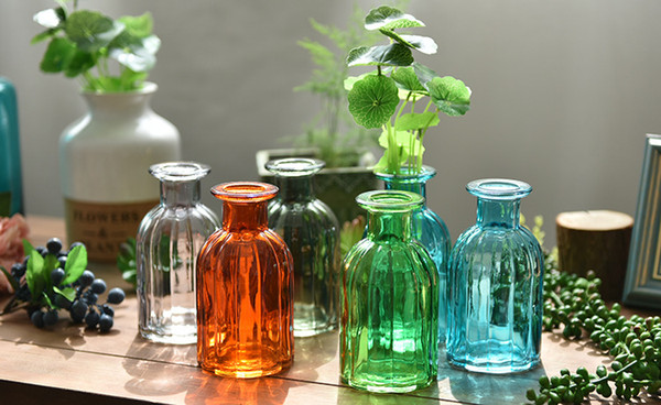 New simple style clear glass vases mini size bottle for home wedding decoration in 5 colores