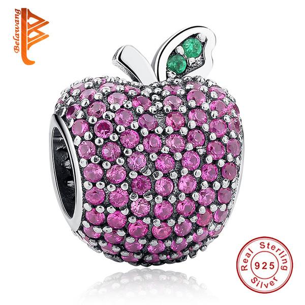 BELAWANG стерлингового серебра 925 проложить Apple Fancy Rose Red CZ зеленый кристалл Шарм Fit Pandora браслет DIY ювелирных изделий