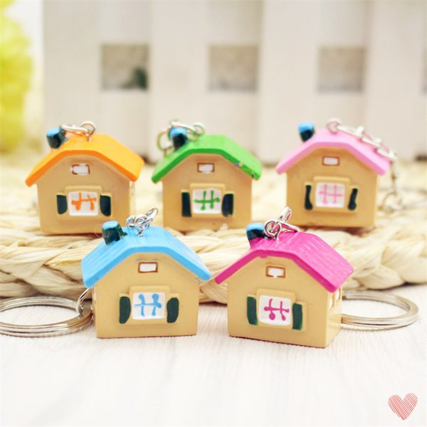 Five Colors 2.7*2.5 cm Cute Mini House Keychain Cheap Bag Pendant Key Ring Cartoon for Friends Gift 100 pcs a lot