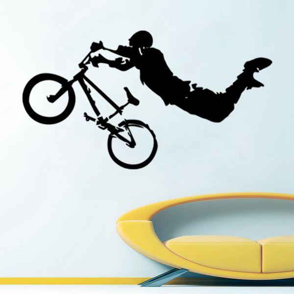Dev BMX Bisiklet Bisiklet Spor Duvar Sanatı Dekor Vinil duvar Sticker Çıkartması Boy Odası dekorasyon 45 * 76 cm
