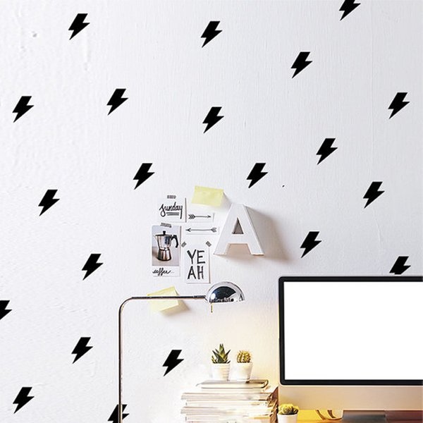 60 pieces/lot Little Lightning Wall Stickers for Kids Room Removable Black and White Wall Decal DIY Children Boys Home Decoration Wall Art