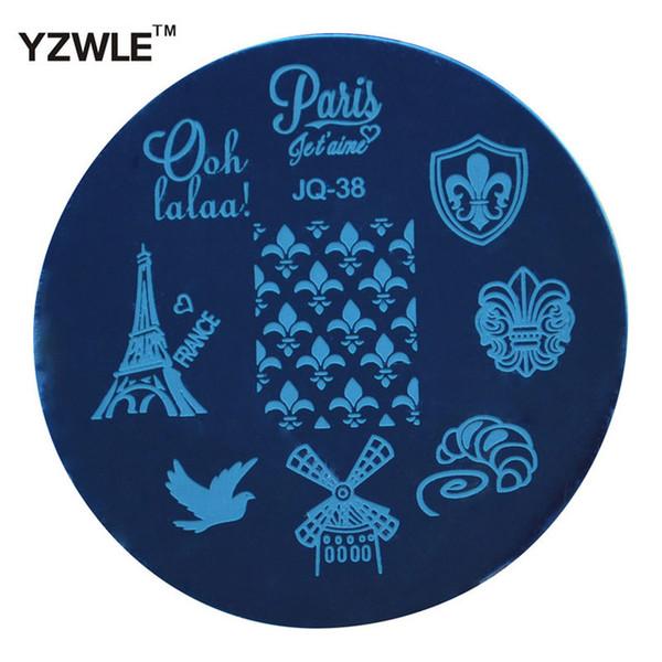 Venta al por mayor-YZWLE Venta caliente Nail Art placa de acero inoxidable imagen sello estampado placas plantilla de manicura de bricolaje herramientas de esmalte de uñas (JQ-38)