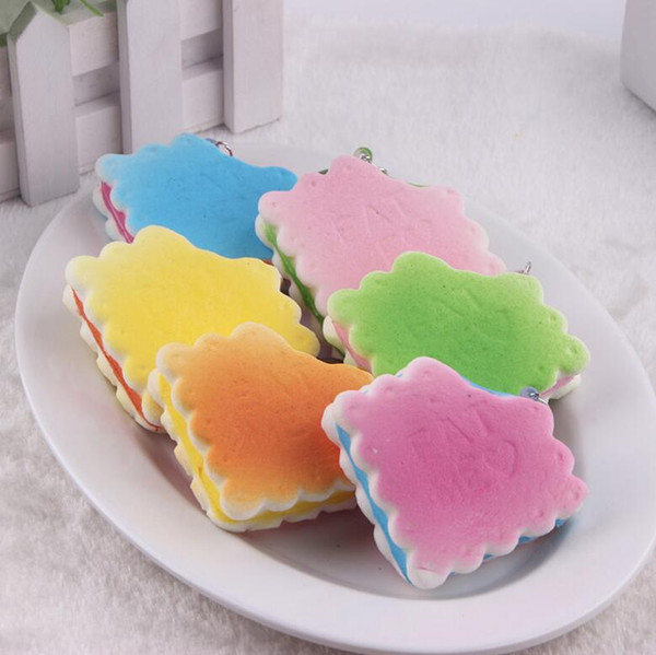 Free Ship 30pcs 5*2cm Biscuit Squishy Food Kids Kitchen Toy Charm Cell Phone Straps Fashion Squishies Bag Pendant Chirstmas Gift