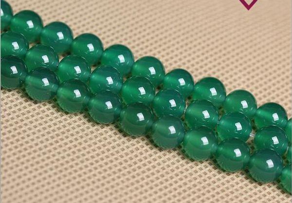 Agate verte ronde en pierre naturelle Perles pierres précieuses Perles en vrac pour Bracelet Making Making plus de couleurs pour le choix