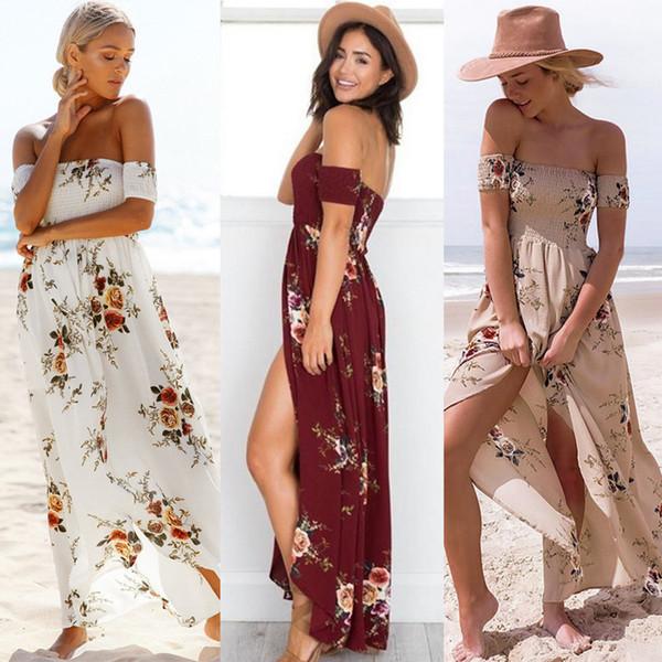Summer Women Sexy Maxi Dresses Chiffon Casual Strapless Floral Printing Elegant Ladies Split Large Swing Dress Promotion