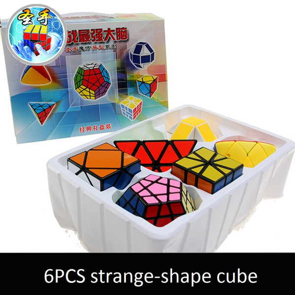 6pcs/Set Shengshou White Base Strange-shape Magic Cube Speed Twist Puzzle Bundle Pack Cube PVC&Matte Stickers Cubo Magic Puzzle