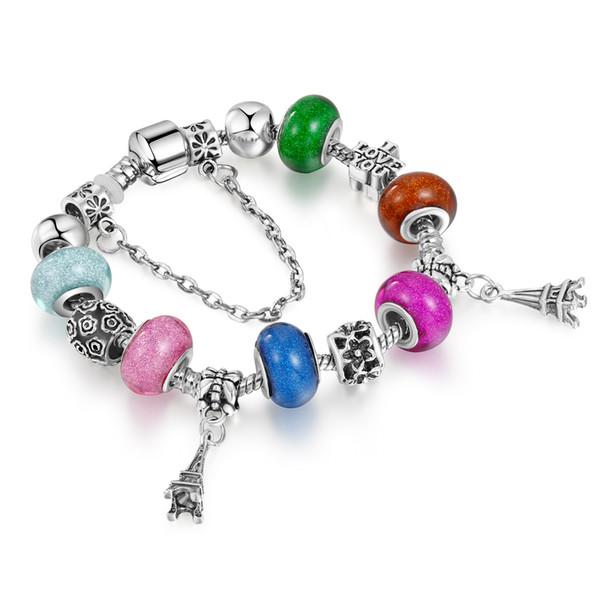 Nueva moda pulsera del encanto de plata antigua Murano acrílico cuentas pulseras Torre Eiffel colgante encantos para la fabricación de joyas AA161