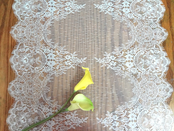 best selling Lace Table Runners Chair Covers Sashes Wedding Party Event Supplies Home Garden Textiles Kitchen Dining Bar Decoration WHITE BLACK 55*300cm