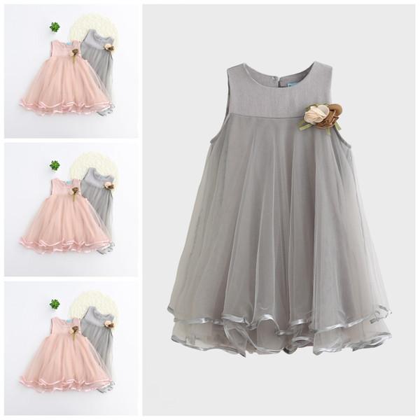 Mädchen Kleid Prinzessin Kleider 2 Farben 2017 Sommer Baby Kleidung Einteiliges Kleid Sleeveless Mew Einfarbig Weste Rock Kinder Kleidung XY506