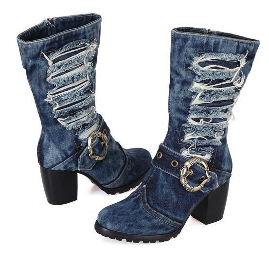 Wholesale- 2016 New Arrival Mid-calf Blue Jeans Boots Cool Appliques Denim Boots For Women Short Cowboy Boots Shoes Woman