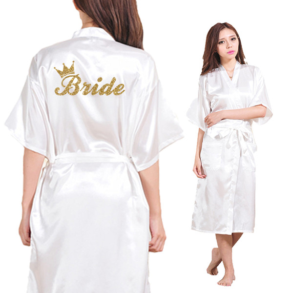 Wholesale- Bride Crown Team Bride Golden Glitter Print Long Section Kimono Robe Women Bachelorette Wedding Faux Silk Robe Free Shipping